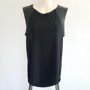 Allsaints Alienor Leather Sleeves Tank Top Small